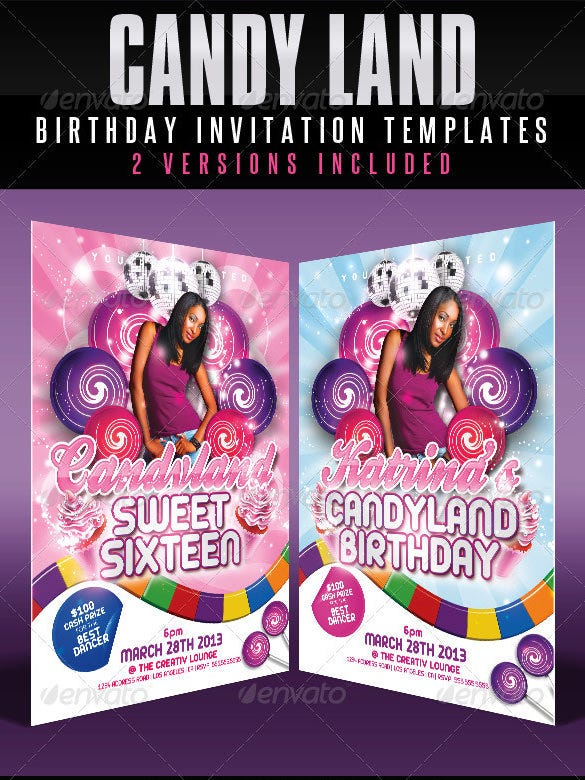 candy land birthday invitation template psd download