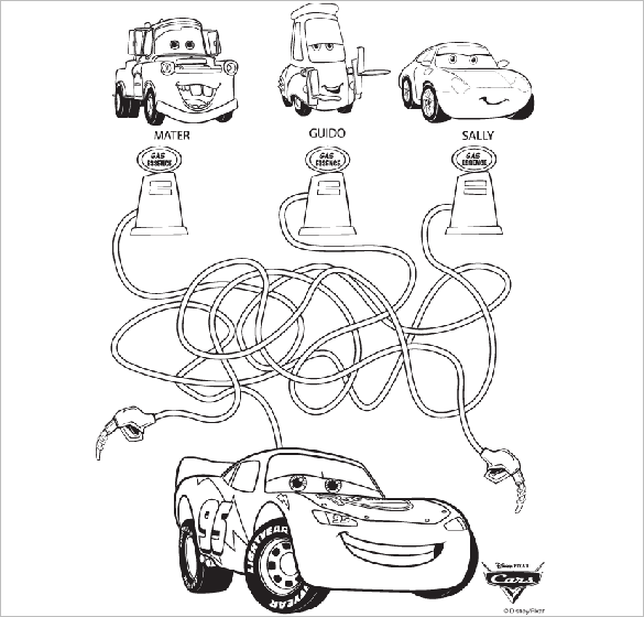 free printable disney cars coloring page