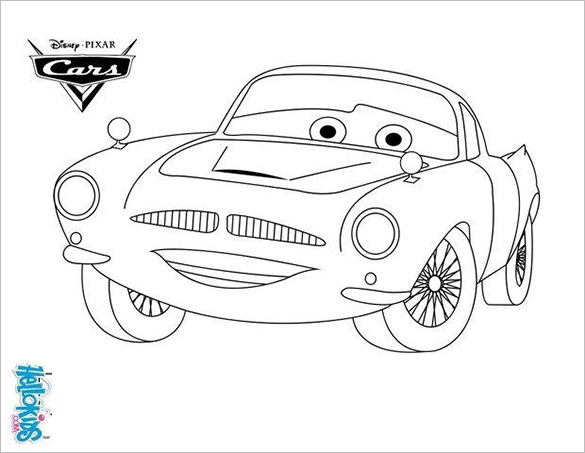It Shows The Famous Cartoon Character Finn McMissile From Disney Movie Cars And Is One Of Simplest Car Coloring Images You Will Find