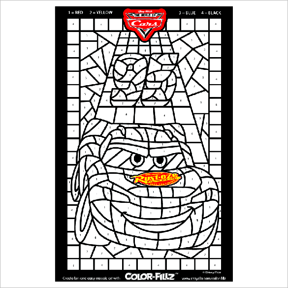 disney cars mosaic free coloring page