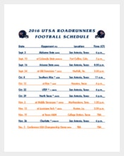 Scheduling Football Daily Planner Example