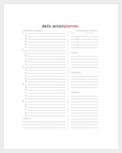 Blank Daily Action Planner
