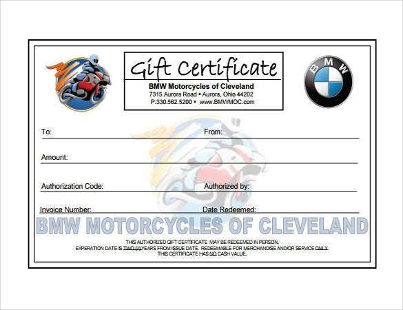 Printable Motorcycle Gift Certificate