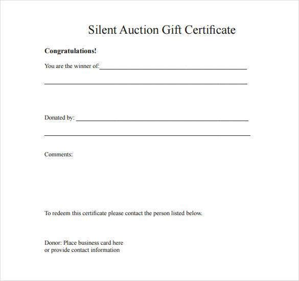 printable silent auction forms