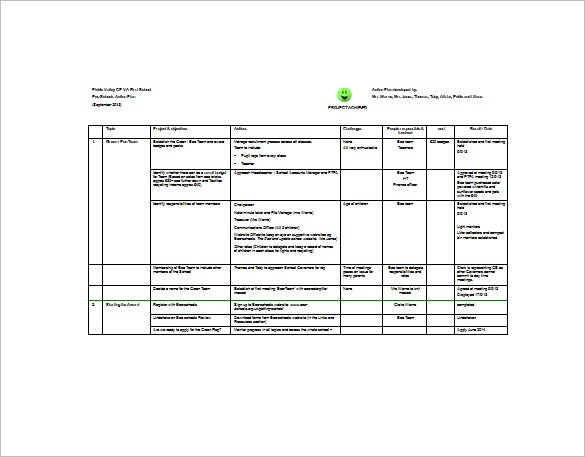 Project Action Plan Template   Free Sample Example Format