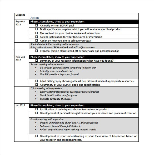 Personal Project Action Plan Sample PDF Download