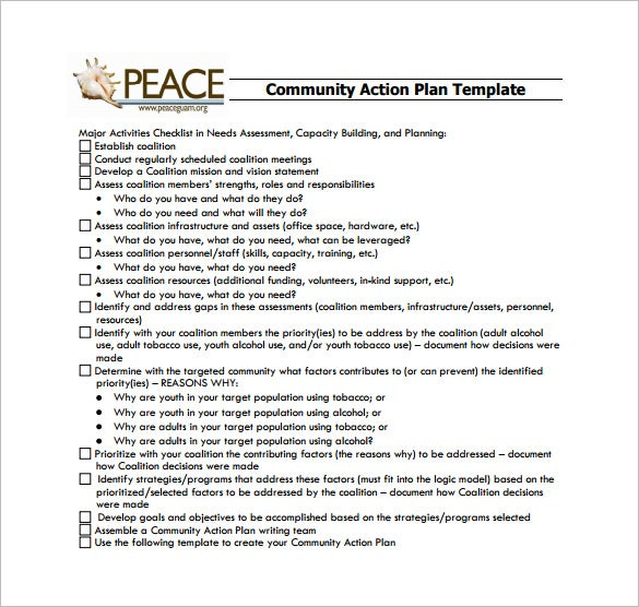 community action plan pdf template download