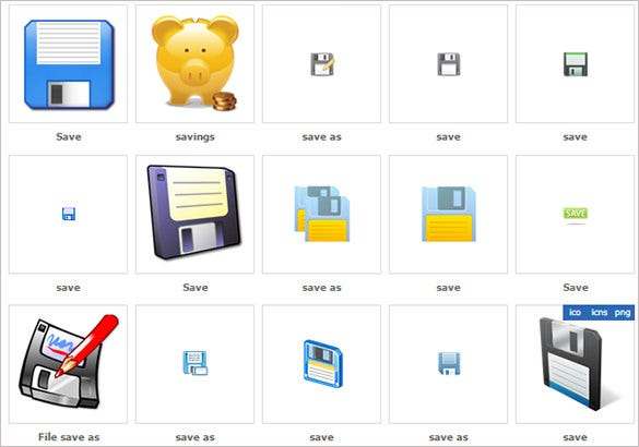creative toolbar save icons collection
