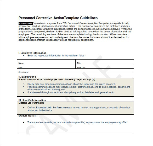 Employee Action Plan Template 12 Free Sample Example Format