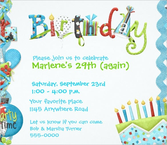 birthday party invitation templates word | trattorialeondoro