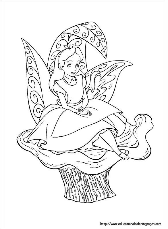 free printable alice in wonderland coloring page