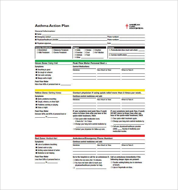 Pediatric asthma case study example for Asthma management plan template