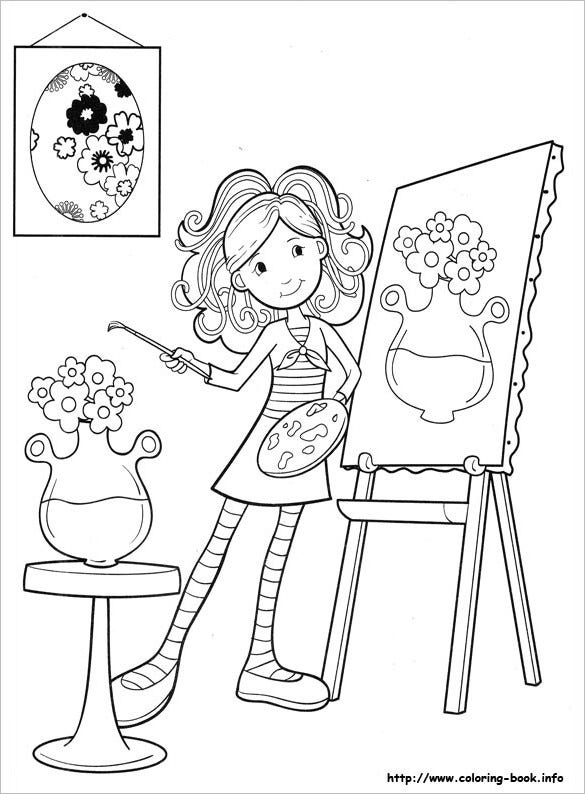 girl painting coloring page for you