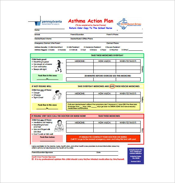 school asthma action plan pdf free download