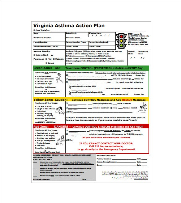 virginia asthma action plan pdf download