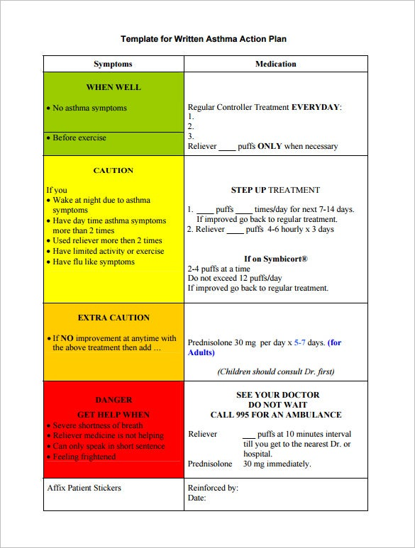 Asthma Action Plan Template   Free Sample Example Format