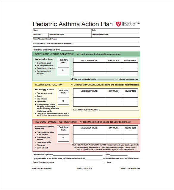 pediatric asthma action plan pdf download