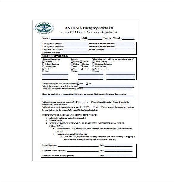 asthma emergencey action plan pdf