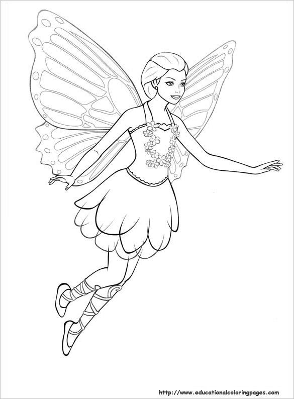 printable barbie mariposa coloring page