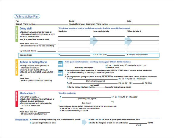 asthma action plan format free download