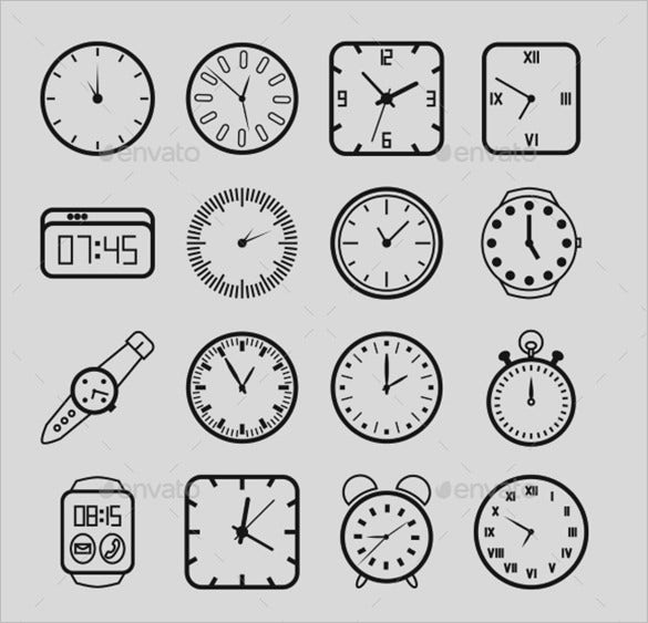 amazing clock icons collection for vector