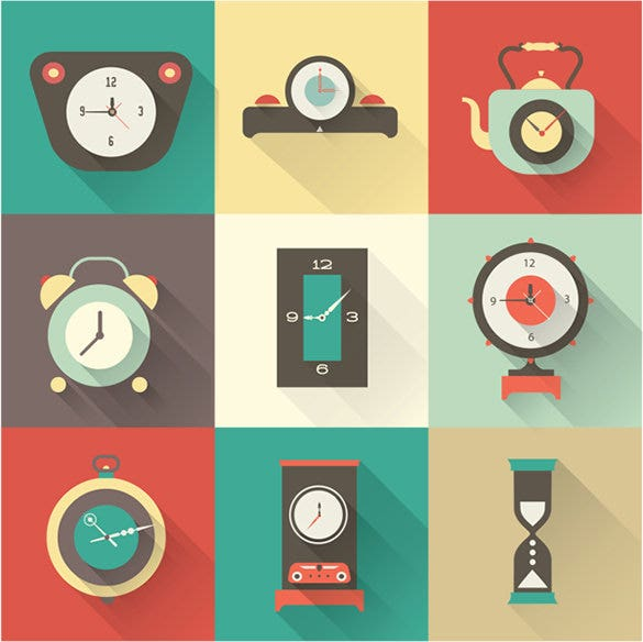 best clock icons set for vector