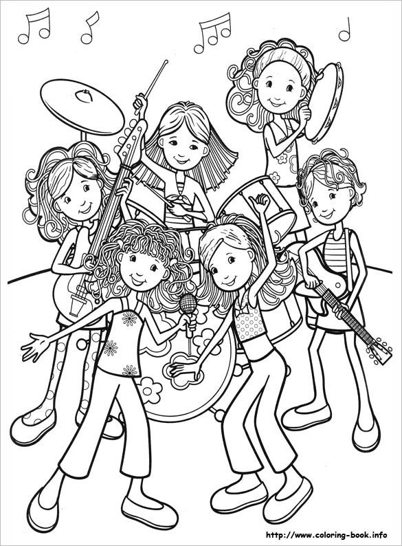 girls music band coloring page for you