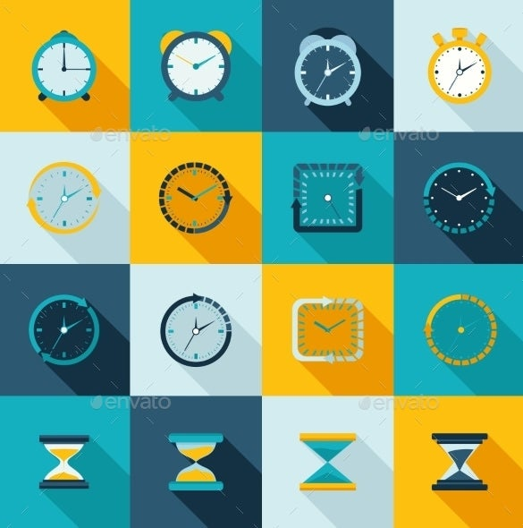 awesome clock icons flat set
