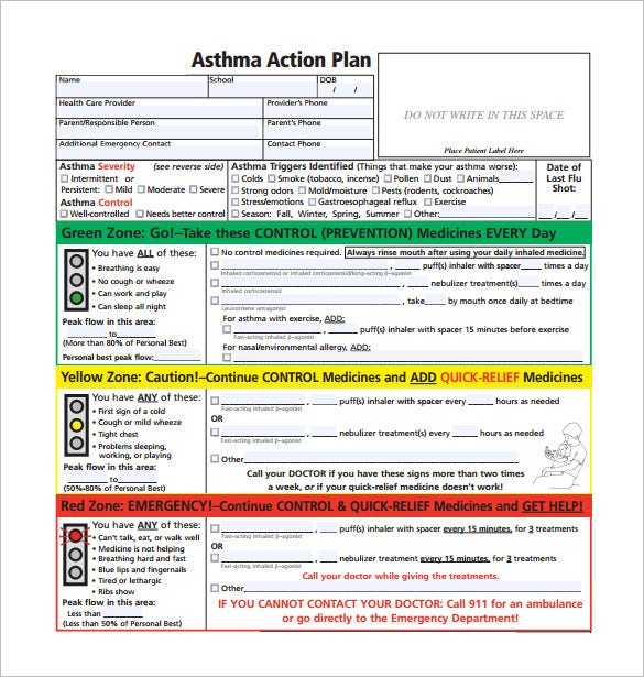 Asthma Action Plan Template  Action Plan Templates