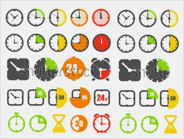 multiple clock icons collection