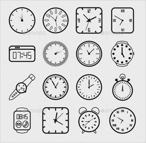 best clock icons set for eps