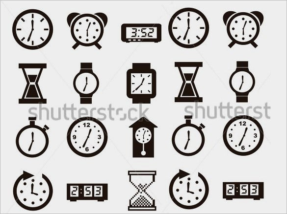 download creative clock icons collection for vector