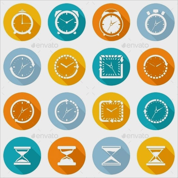 awesome business clock icons collection