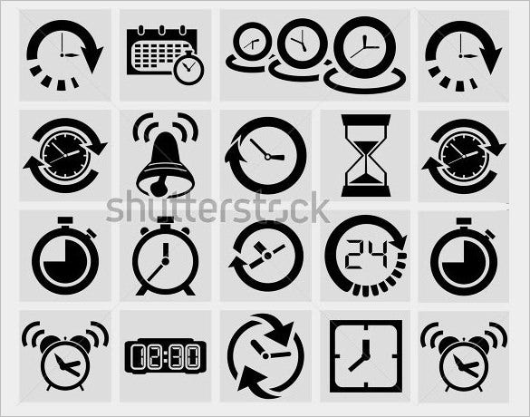 best clock icons collection for vector