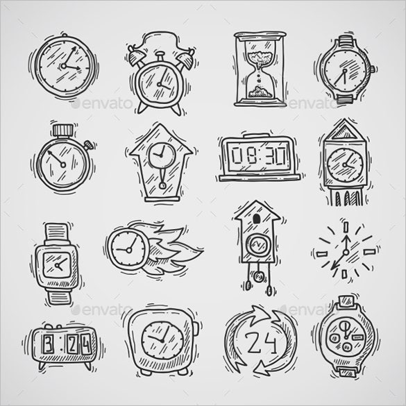 best clock icons collection for eps format