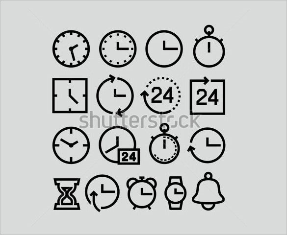 creative clock icons set