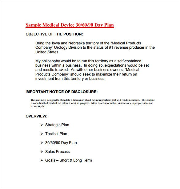medical device 30 60 90 day action plan pdf free download