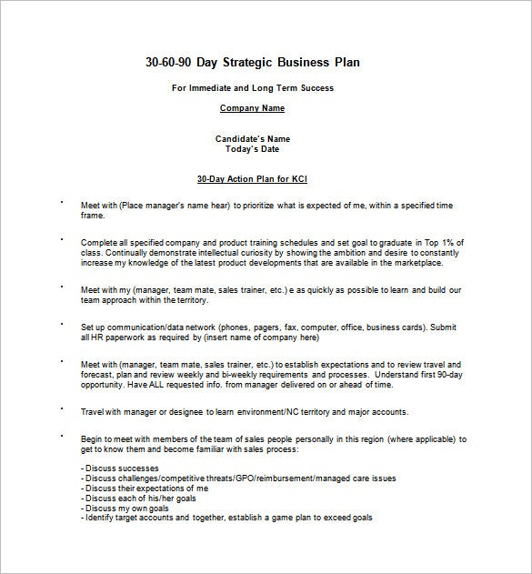 30 60 90 day business action plan word doc free download