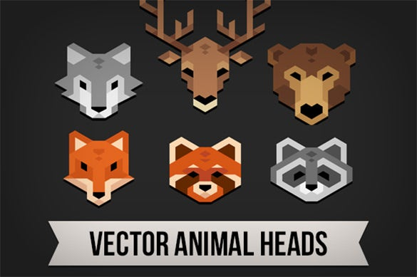 6 premium geometric animal heads for download
