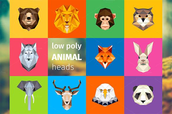 stunning premium low poly geometric animal logo