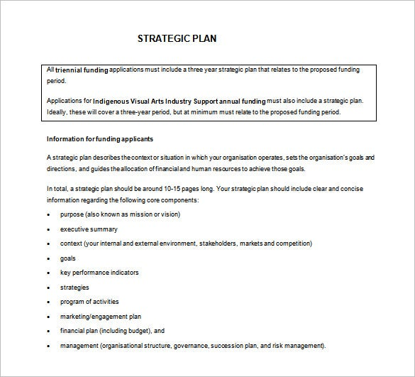 Strategic Action Plan Template   Free Sample Example Format