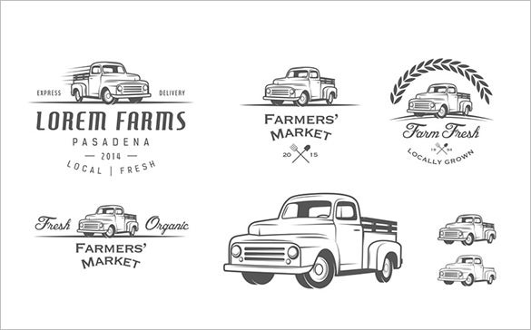 4 premium farmer truck logo for download