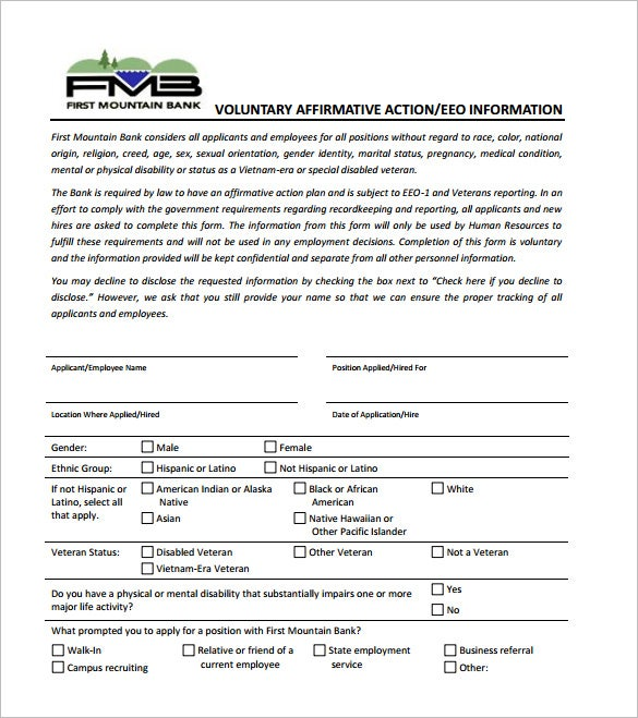 Affirmative Action Plan Template Free Sample Example Format - Affirmative action plan template for small business