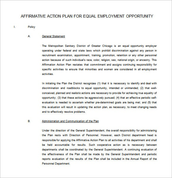 Affirmative Action Plan Template Free Sample Example Format - Affirmative action plan template