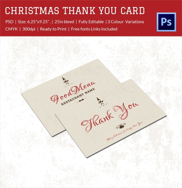 embossed christmas holiday thank you card