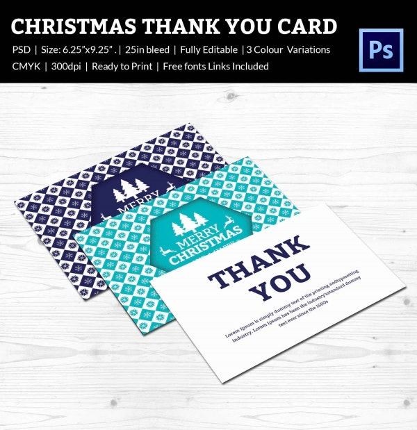 printable christmas thank you card template