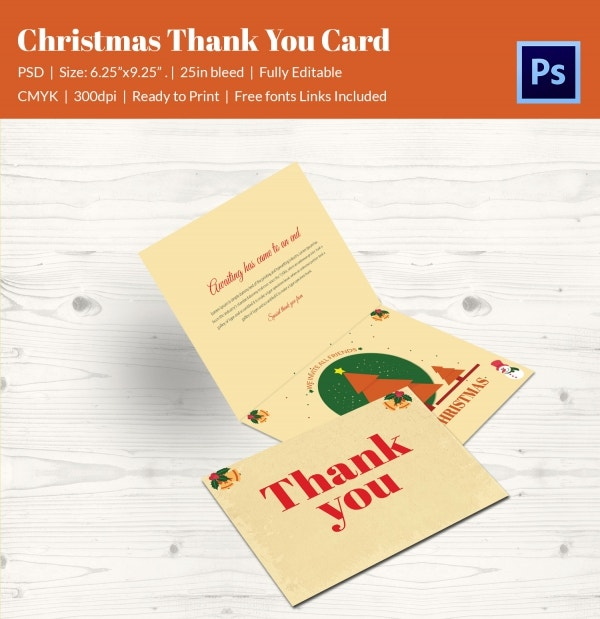 flat christmas holiday thank you card