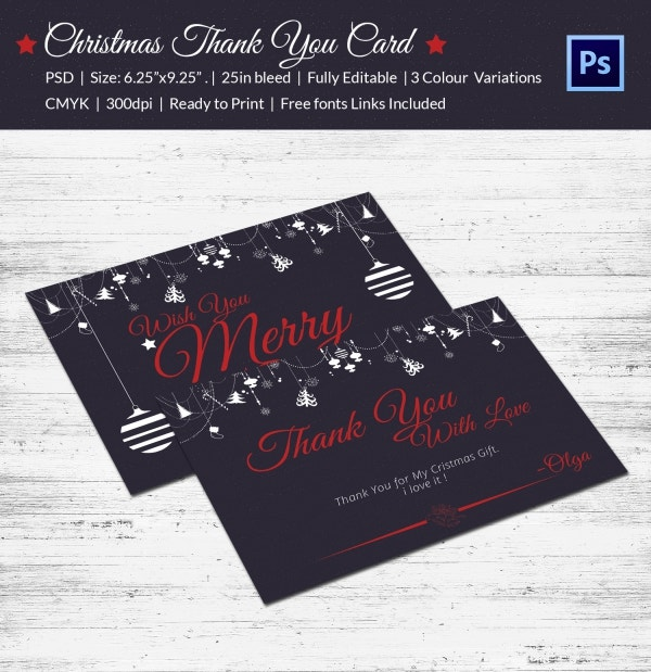 vintage christmas thank you stationery card