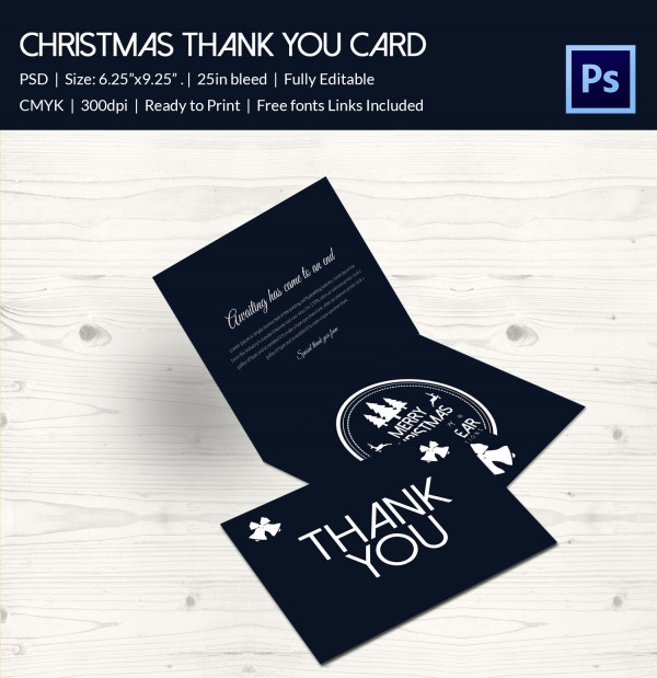 christmas thank you card template download
