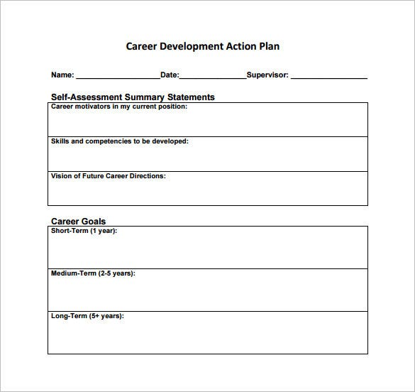 Career action plan template 14 free sample example for 5 year career development plan template